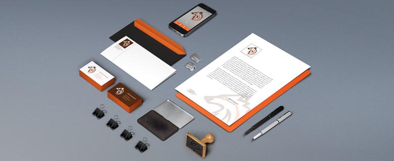 Névjegykártya, levélpapír, boríték és céges mappa tervezése